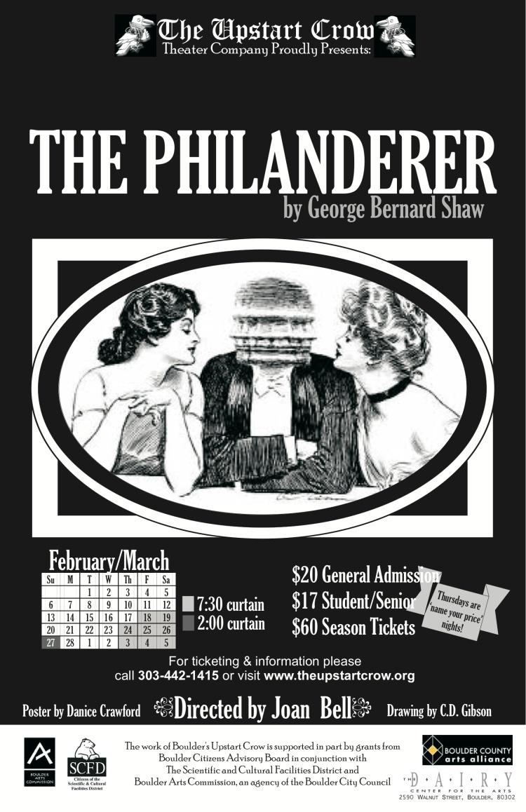 Boulder's Upstart Crow Theatre Company, The Philanderer, Denver, Theatre